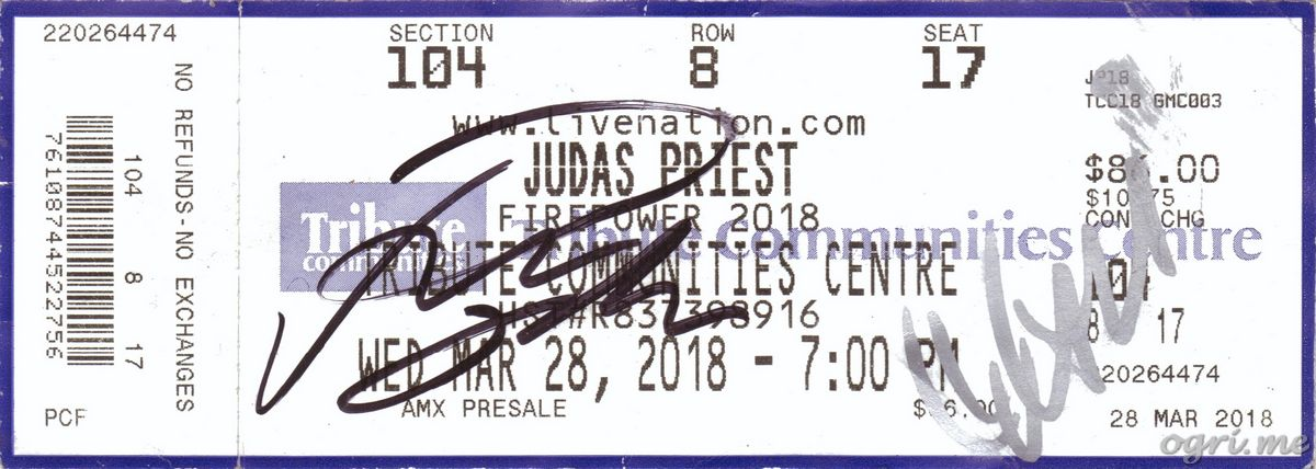 Judas Priest 2018 Ticket