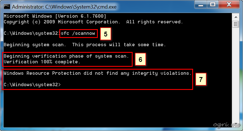 ogri.me | Check integrity of system files in Windows 7 steps 5-7