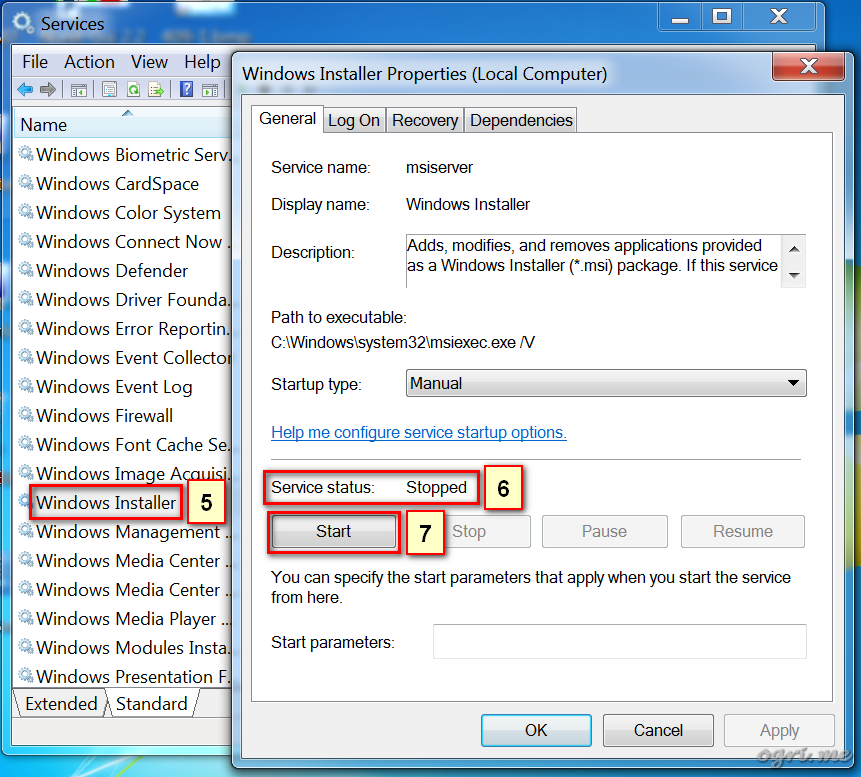 ogri.me | Windows 7: Windows Installer troubleshooting - 2