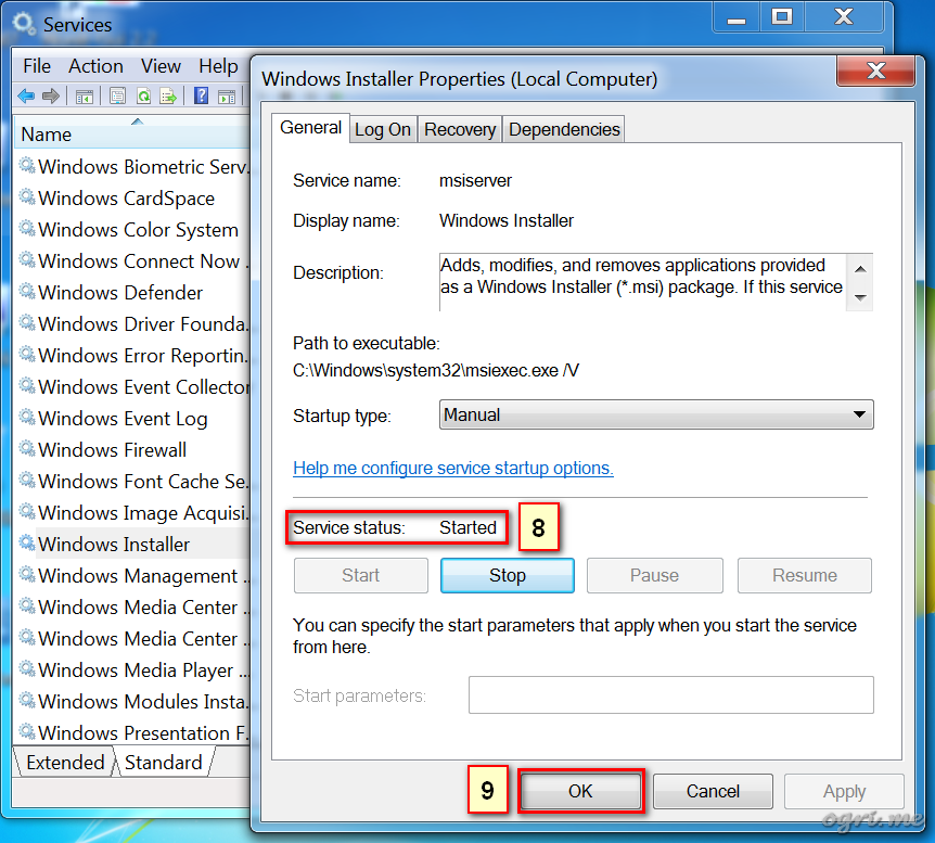 ogri.me | Windows 7: Windows Installer troubleshooting - 3