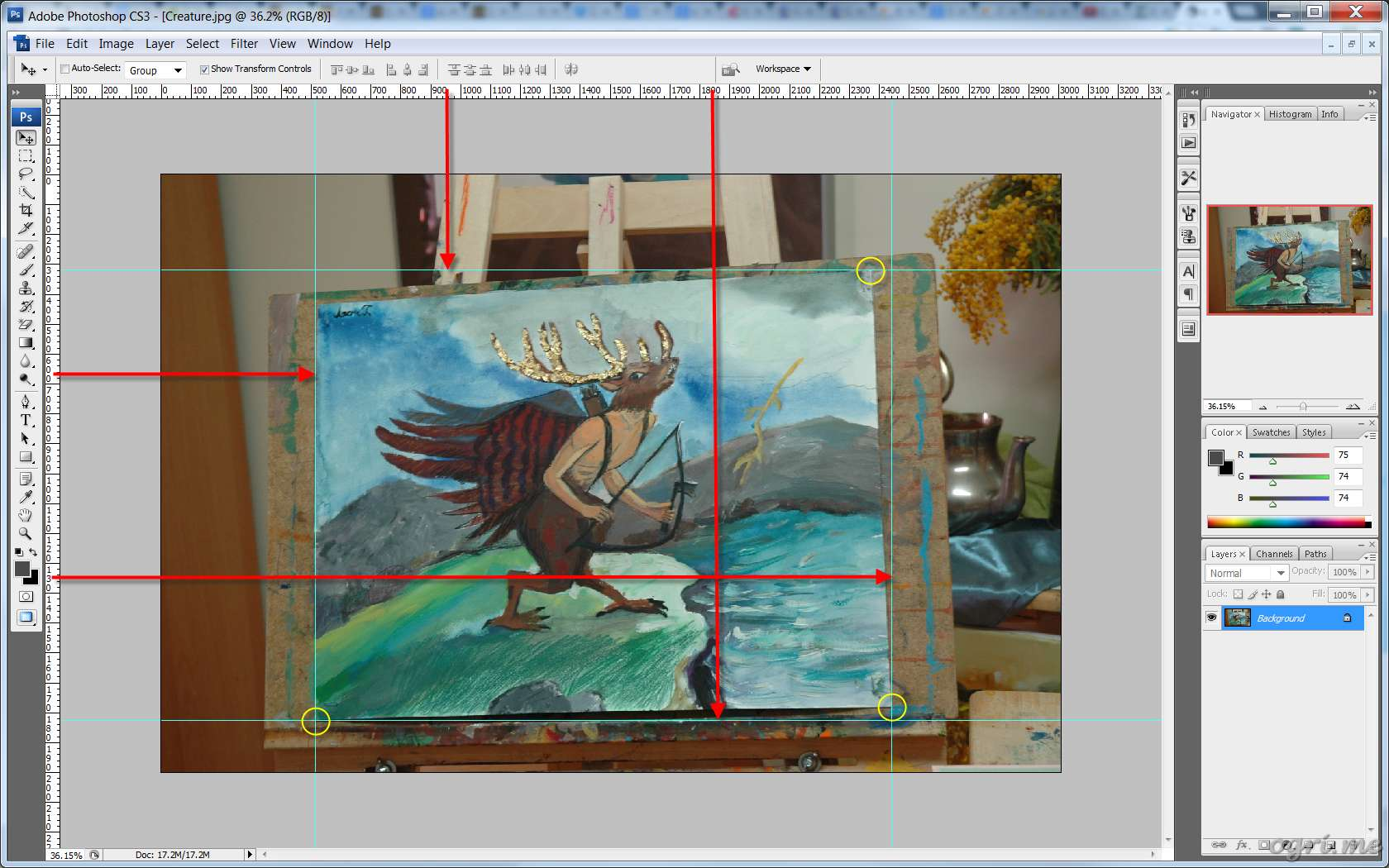 ogri.me | Photoshop: Processing photos of paintings for online gallery #03