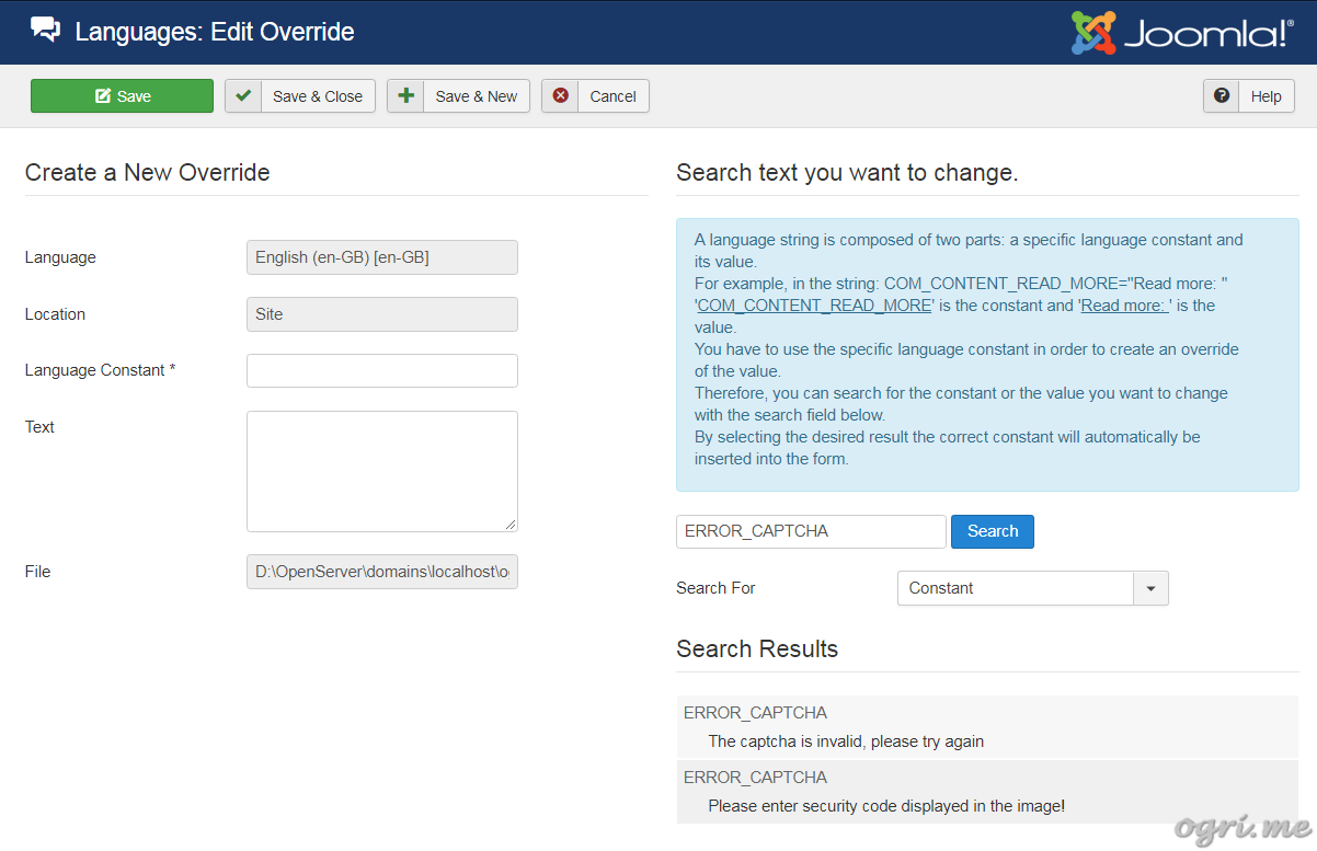 Joomla: how to add your own language constants or override existing ones - 3