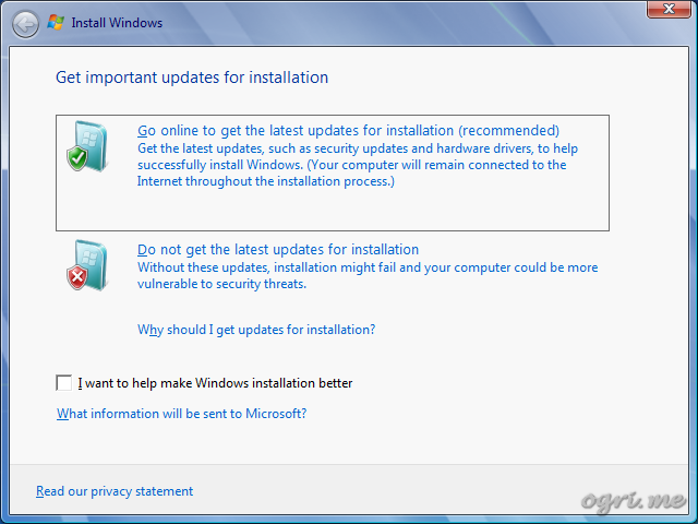 Repair install - step 2 - Get important updates for installation