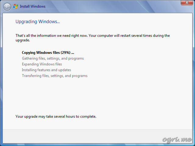 Repair install - step 8 - Upgrading Windows