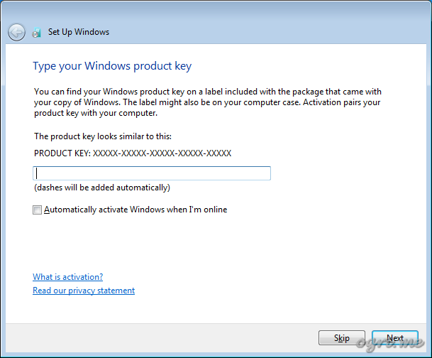 Repair install - step 9 - Type your Windows product key